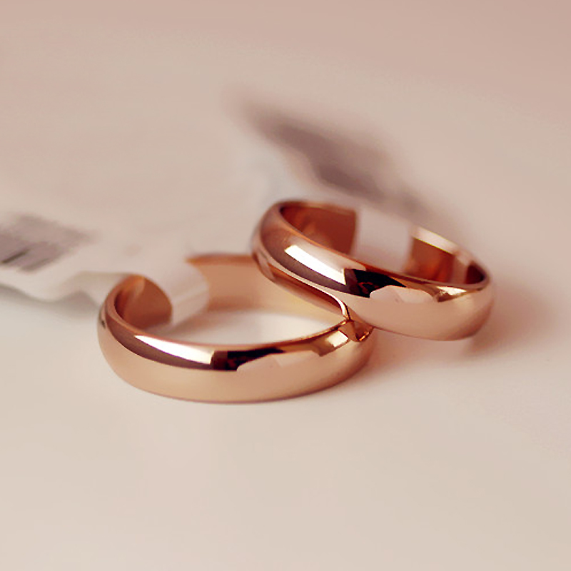 USTAR round wedding rings for women men jewelry Rose Gold color Lovers men rings female anel bijoux Gift top quality