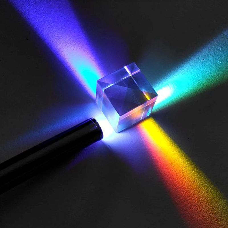 Colorful Combiner Splitter Cross Dichroic Cube RGB Prism Optical Glass Triangular Prism For Teaching Light Spectrum Physics 20mm