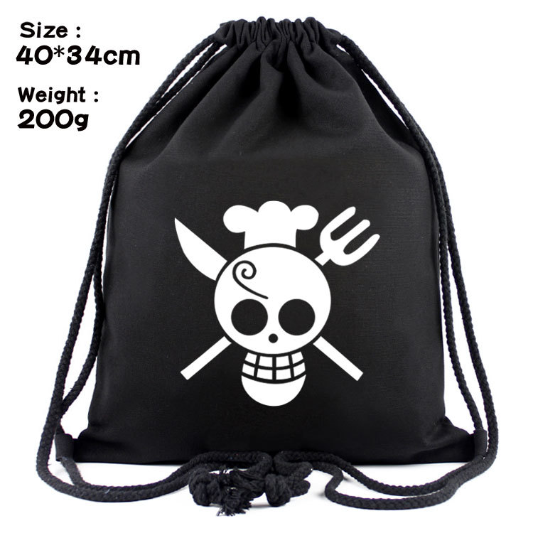 One Piece Series Anime Fashion Canvas Backpacks Cartoon Drawstring Backpack Casual String Bags Shopping Knapsack Unisex New