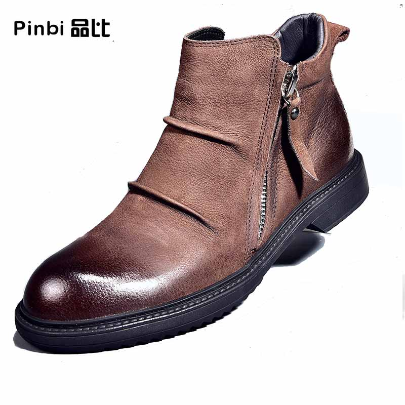 Real Leather men's Martin boots Korean autumn winter British men casual high top shoes all-match cowhide velvet Chelsea boots