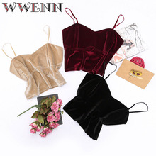 WWENN 2019 Velvet Sexy Top Crop Top Women Sexy Tops for Women Fitness Tank Elegant Workwear Women's Sleeveless Tops cropped sexy midriff baring tops