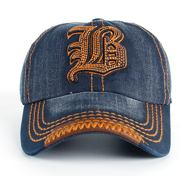 Latest New Hot Sale Trendy Embroidered Letter B Girls Summer Cool Baseball Caps 4 Colors Good Quality Denim Caps For Women SY552