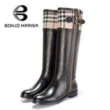 Euro Size 34-40 Women's Knee High Boots Sexy Flat Winter Warm Grid Mixed Colors Ridding Boots For Women Round Toe Low Heels
