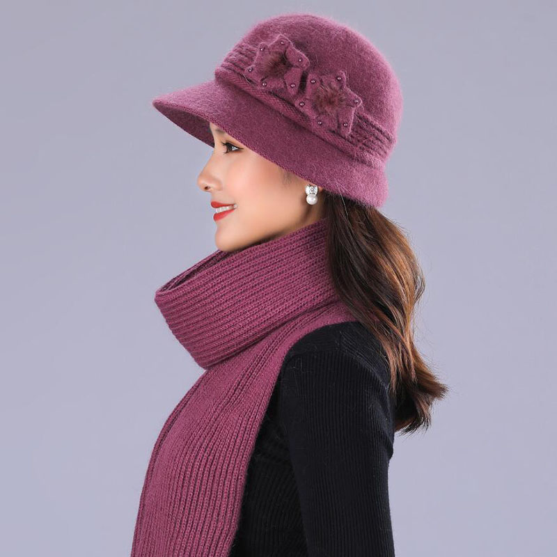 BING YUAN HAO XUAN Design Double Layer Winter Hats For Women Rabbit Fur Hat Warm Knitted Hat And Scarf Large Flower Cap