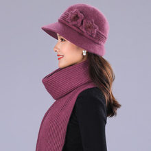 1e17c98955f BING YUAN HAO XUAN Design Double Layer Winter Hats for Women Rabbit Fur Hat  Warm Knitted Hat and Scarf Large Flower Cap