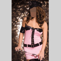 New Pink Police Costume For Women Adult Sexy Cop Halloween Fancy Dress Carnival Costume