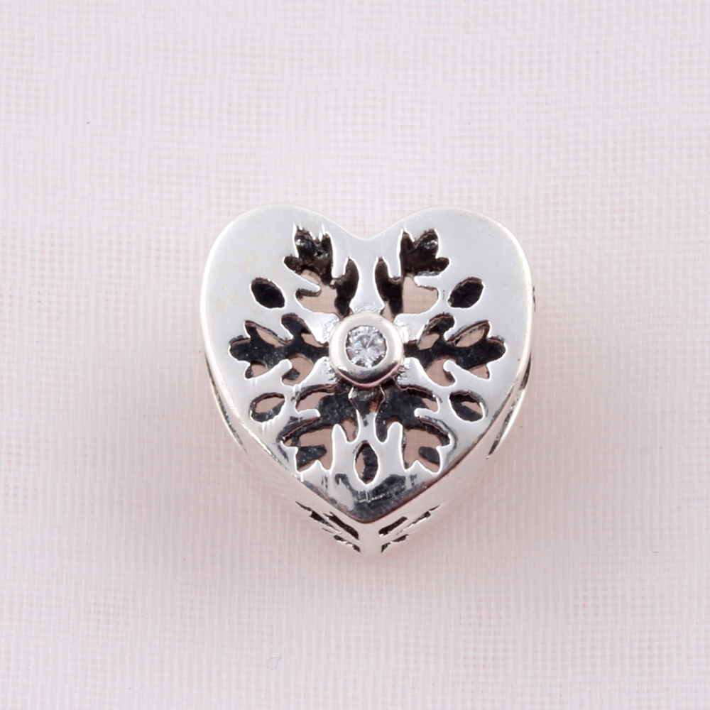 ZMZY Original 925 Sterling Silver Charms Snowflake Heart Charm Beads fit Pandora Charm Bracelet Gift for Women