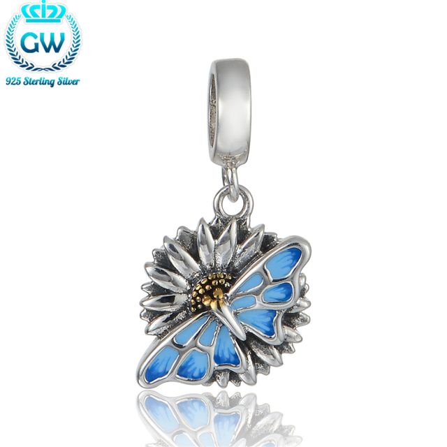 925-Sterling-Silver Butterfly Charm Pendant With Blue Enamel Craft  Charm Bracelets Bangles Beads & Jewelry Making S369