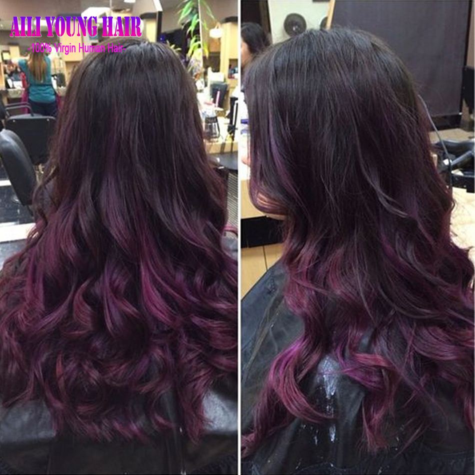 Black And Purple Human Hair Wig 31