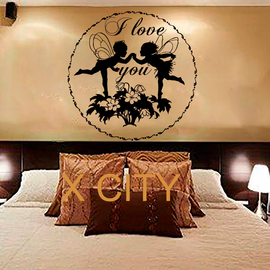 Cute Fairy Flower Quote I Love You Wall Art Sticker Vinyl
