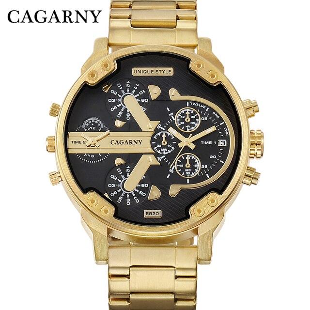 Cagarny Brand Design Man Fashion Luxury Gold Bracciale In Acciaio Cinturino Quar