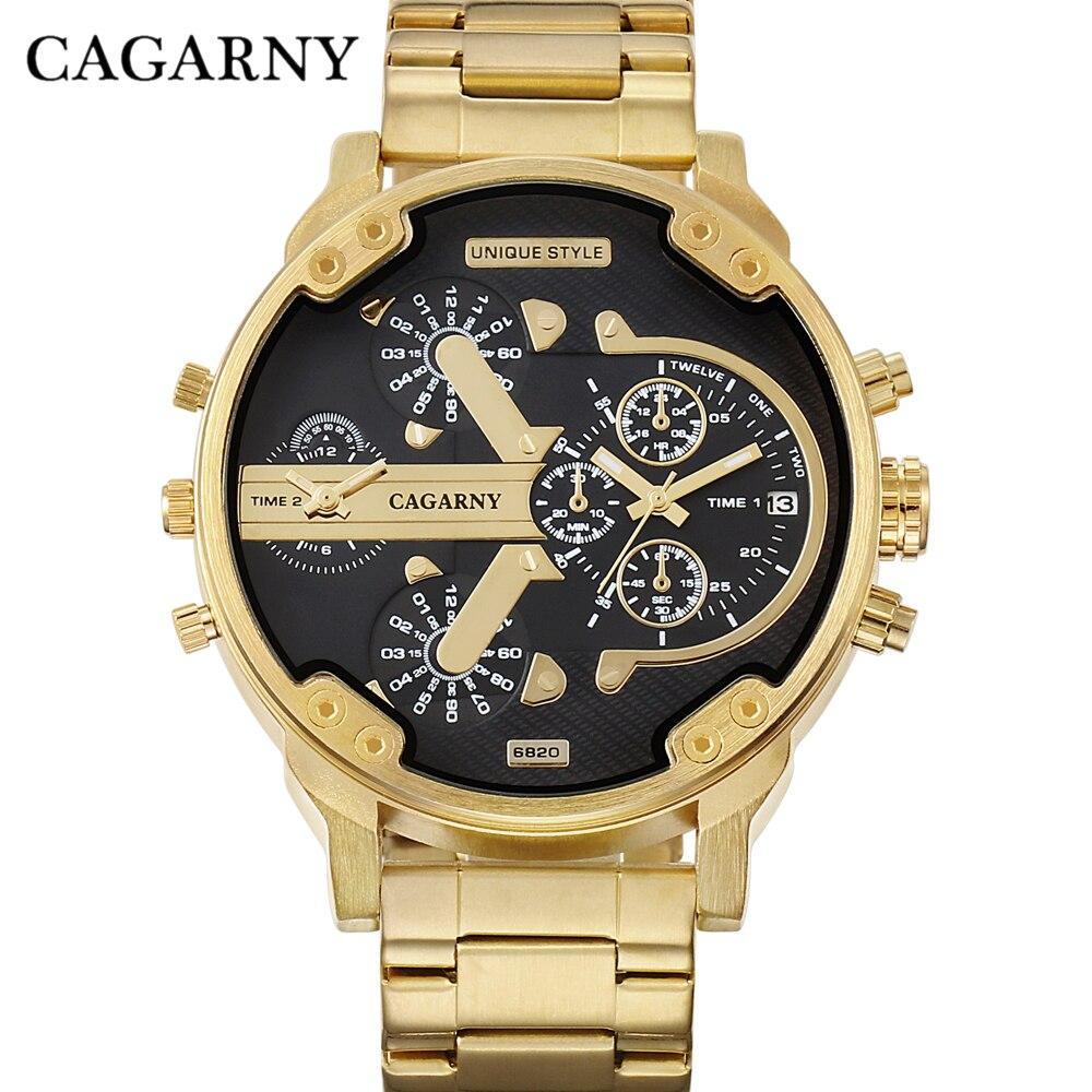 CAGARNY Marca Diseño hombre moda oro de lujo pulsera de acero reloj de cuarzo negocio regalos relogio masculino