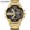 Reloj de pulsera de acero dorado de lujo con diseño de marca CAGARNY para hombre, reloj de pulsera de cuarzo, reloj de regalo para hombre, reloj para hombre