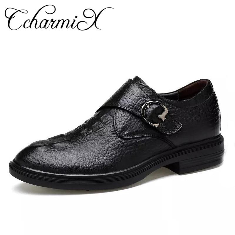 CcharmiX Véritable de Cuir Hommes Chaussures Formelles Glissent Sur Noir Alligator Motif Hommes Richelieus Main Crocodile Style Hommes Robe Chaussures