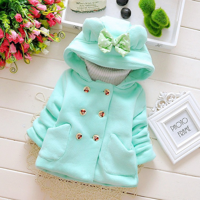 Autumn baby girls thick woolen coats 2019 children's hooded shirt bow pocket double-breasted outerwear kids warm jackets clothes