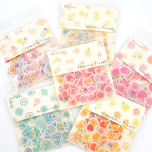 Pink Yellow Blue Flowers Decorative Stickers Scrapbooking Stick Label Diary Bullet Journal Stickers Stationery Album Stickers(China)