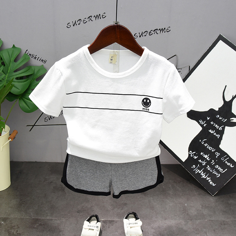 Summer Kids Toddler Casual Sport Suits Solid White T-Shirt Shorts Sets Children Boys Girls Clothing Sets Baby Cotton Tracksuits