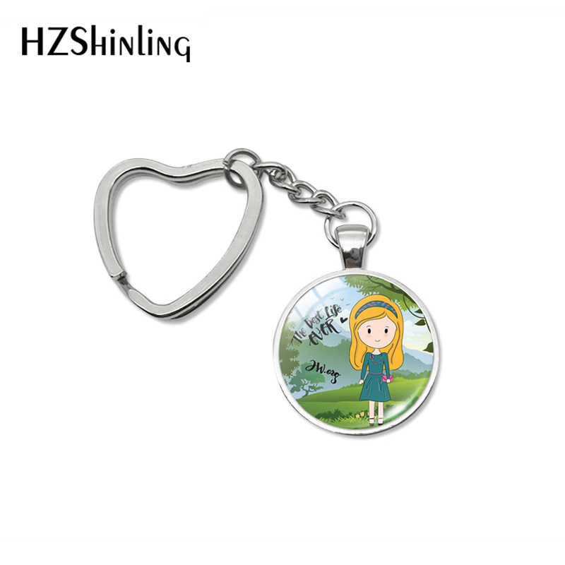 Newest Arrival Heart Keyrings The Best Life Ever Quotes Cartoon Style Glass Cabochon Keyrings Men Woman Jewelry