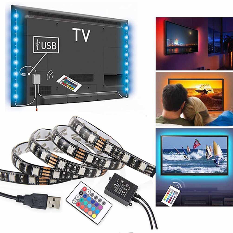 USB RGB LED S p SMD Waterproof Flexible LED Backlight TV Kit Flat Screen LCD Desktop Com ...