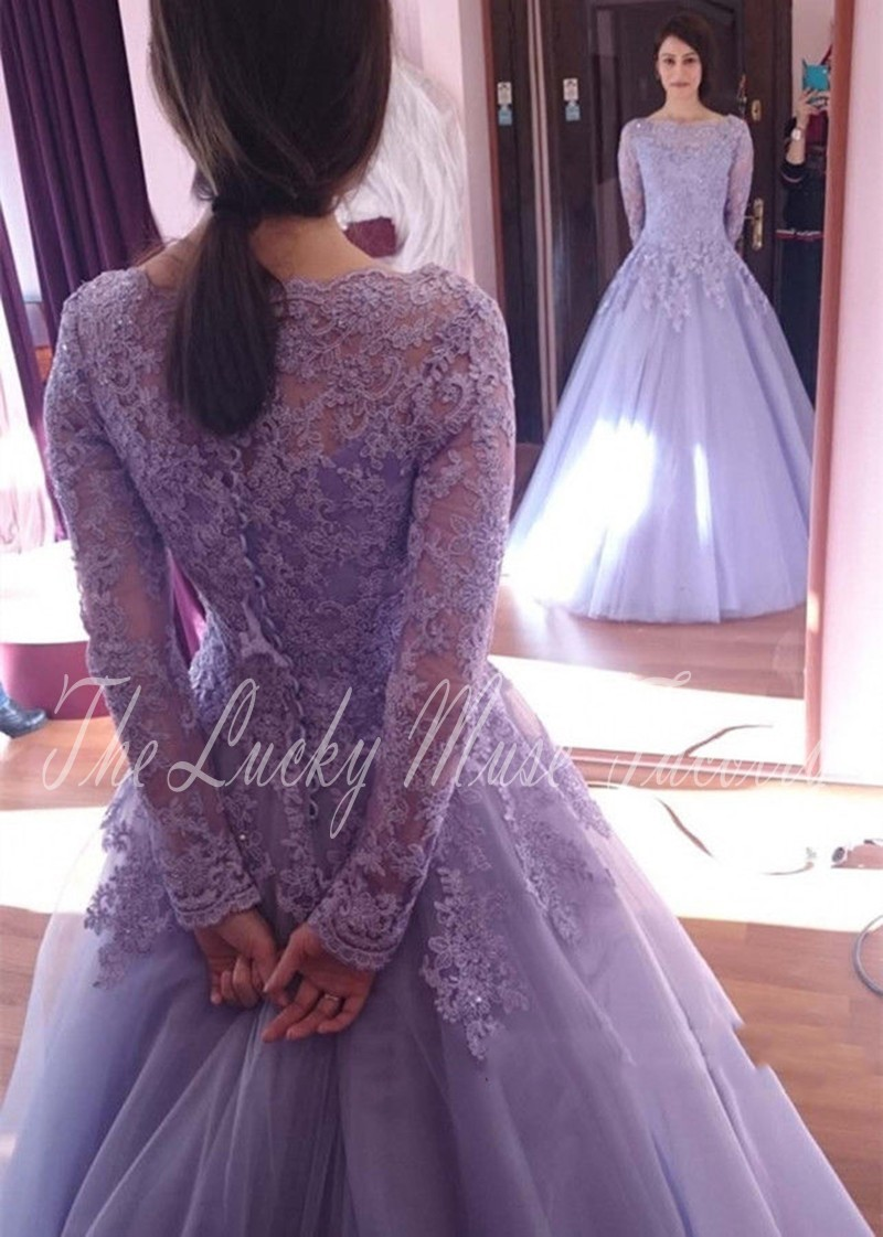 Lavender 12 Arabic Wedding Gowns Gardeners Long Sleeve Lace