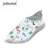 купить Jackherelook Women's Nurse Shoes Flats Cute Nursing Pattern Fashion Summer Light Weight Mesh Ladies Beach Sneakers Loafers Woman дешево