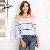 Gracegirl 2017 Autumn Women Blouse Shirts Series Summer Spring Fashion Patchwork Off Shoulder Tops For Women