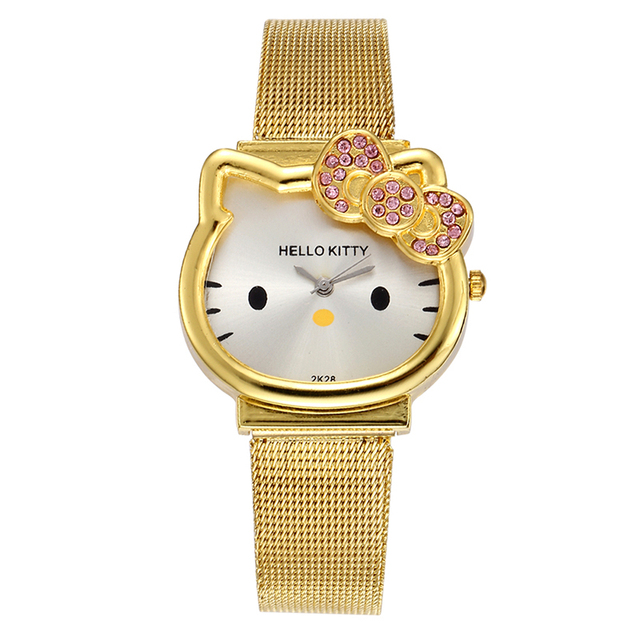 Fashion Girls Watches Kids Watches Cute Cartoon Hello Kitty Cat Watch Luxury Fas