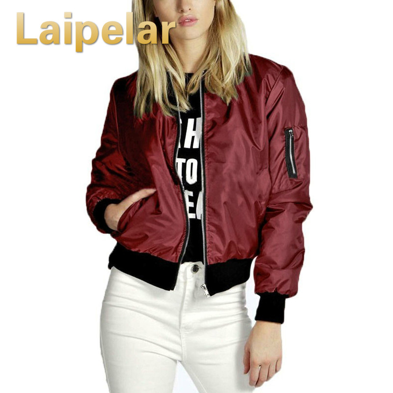 Spring Autumn Women Lady Thin   Jackets   Fashion   Basic   Bomber   Jacket   Long Sleeve Coat Casual Stand Collar Slim Fit Outerwear
