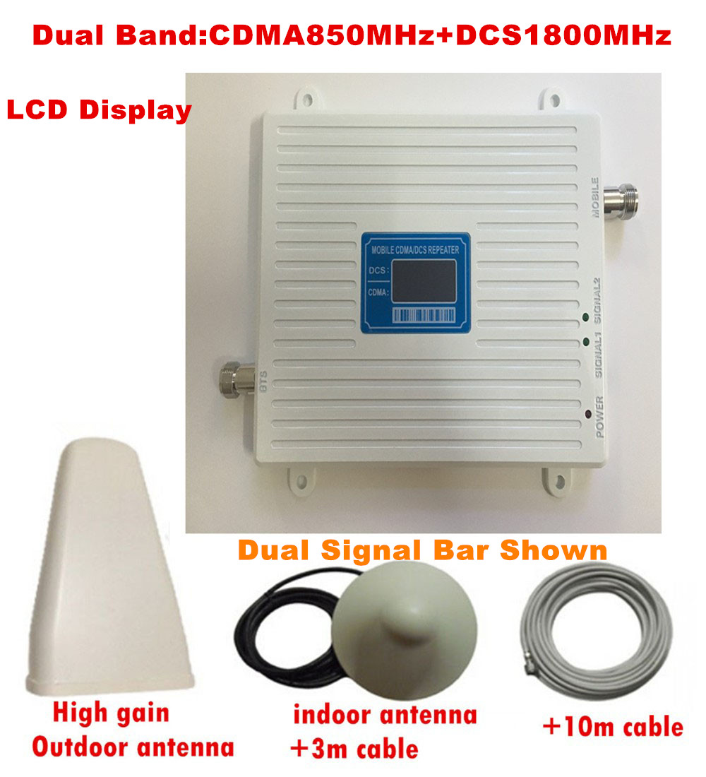 New CDMA 850Mhz DCS 1800MHz GSM Dual Band Mobile Phone Signal Booster 2G 3G Signal Repeater Amplifier With Antenna LCD Display