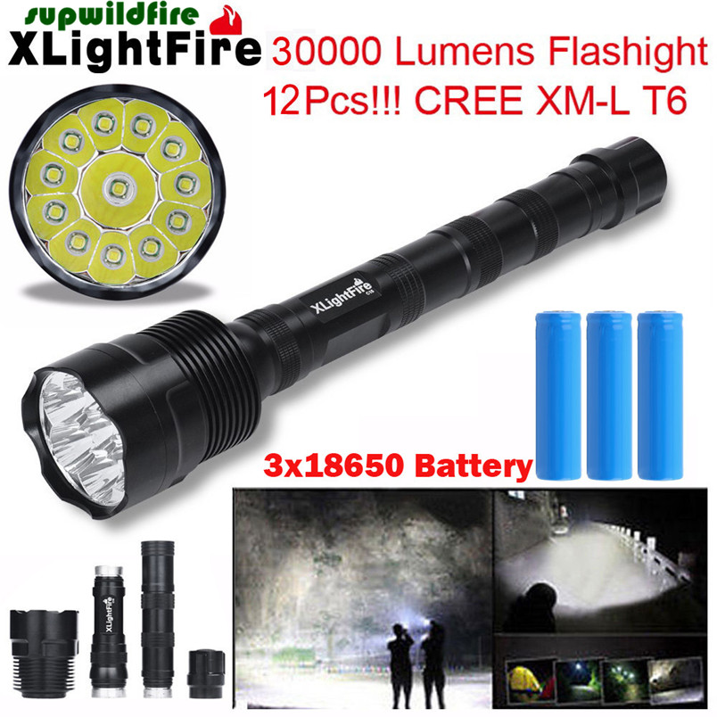 HOT!!! XLightFire 30000 Lumens 12 x XML T6 5 Mode LED Flashlight 3 x 18650 Battery Free Shipping #NN01 rustu r02b t6 800lm 5 mode white flashlight black 1 x 18650