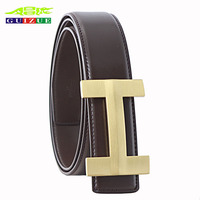 Genuine GUIZUE Brand Leather Belt Men Solid Brass Luxury H Designer High Quality Business Real Leather