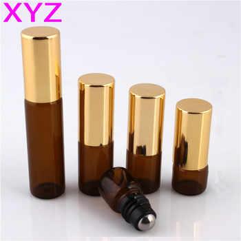 XYZ (100 pezzi/lottp) 1 ML 2 ML 3 ML 5 ML Rullo di Vetro sulla Bottiglia con Acciaio inossidabile Rullo Rullo Piccolo Olio Essenziale-on Bottiglia Campione