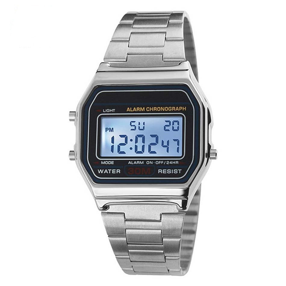 Gold Digital Watch Men LED Display 30M Water Resistant Auto Date Alarm Sports Fashion Wrist Watches Men Relogio Masculino skmei 0921 led digital quartz watch water resistant day date display alarm