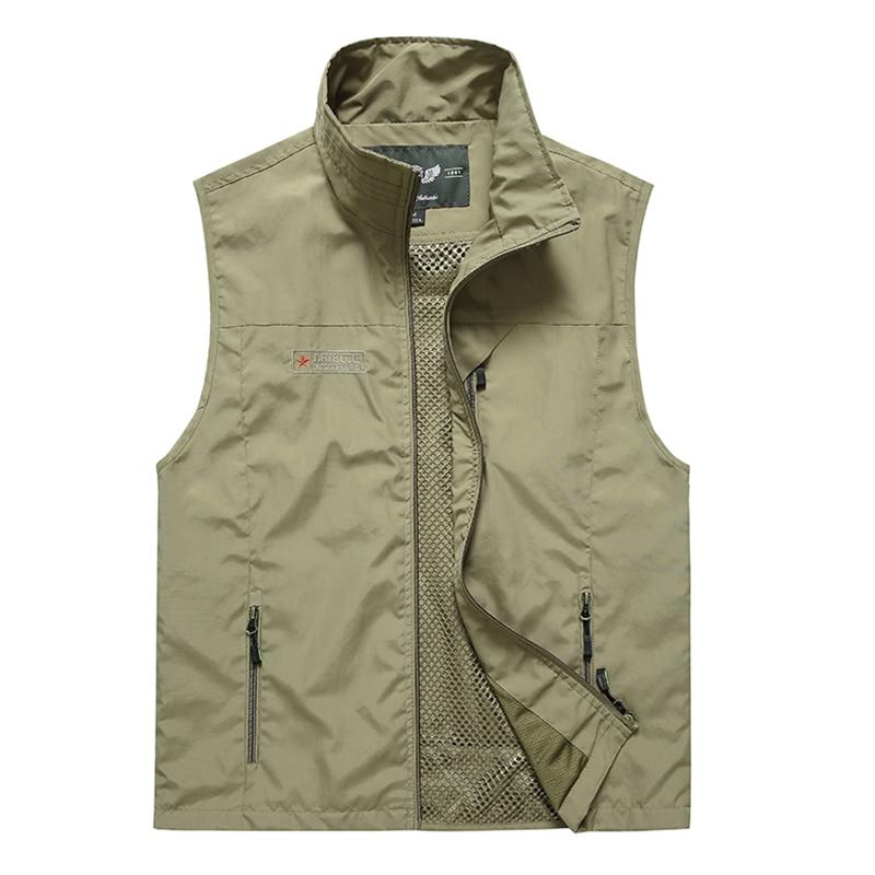 Summer Mesh Vest With Many Pockets For Men Thin Breathable Multi Pocket Classic Waistcoat Male Photographer Sleeveless Jacket