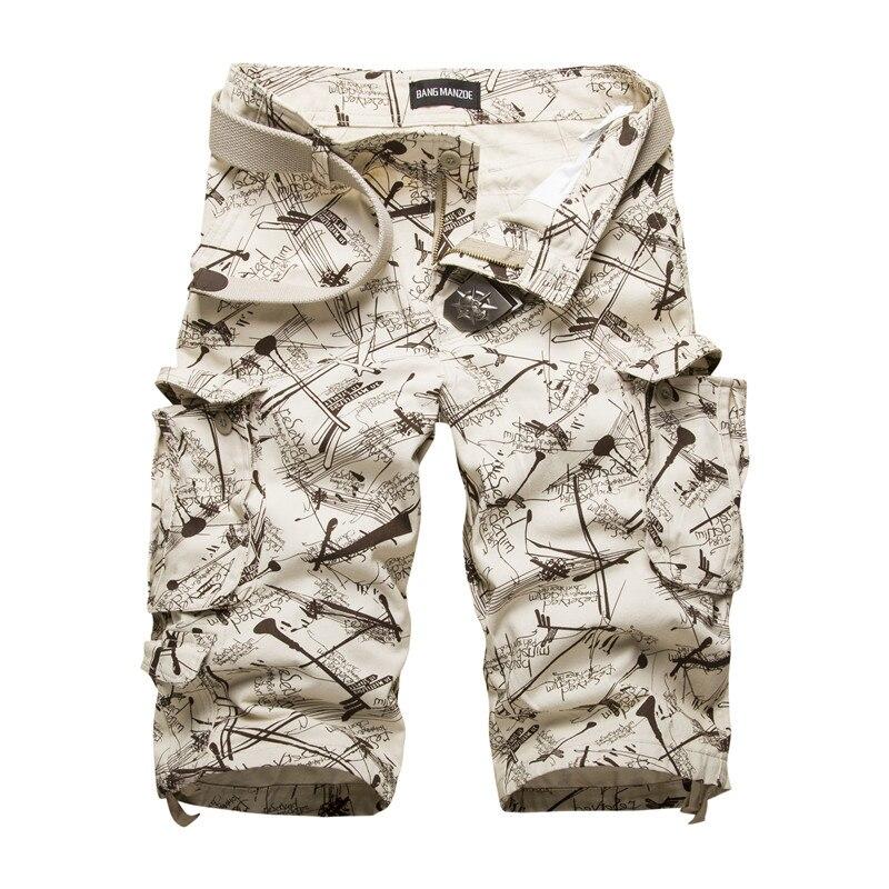 Neuen männer Baumwolle Cargo-Shorts Gute Qualität multi-tasche Camouflage Werkzeugausstattungkurzschlüsse Männlichen Freien Beiläufige Kurzschlüsse Size42 Keine gürtel
