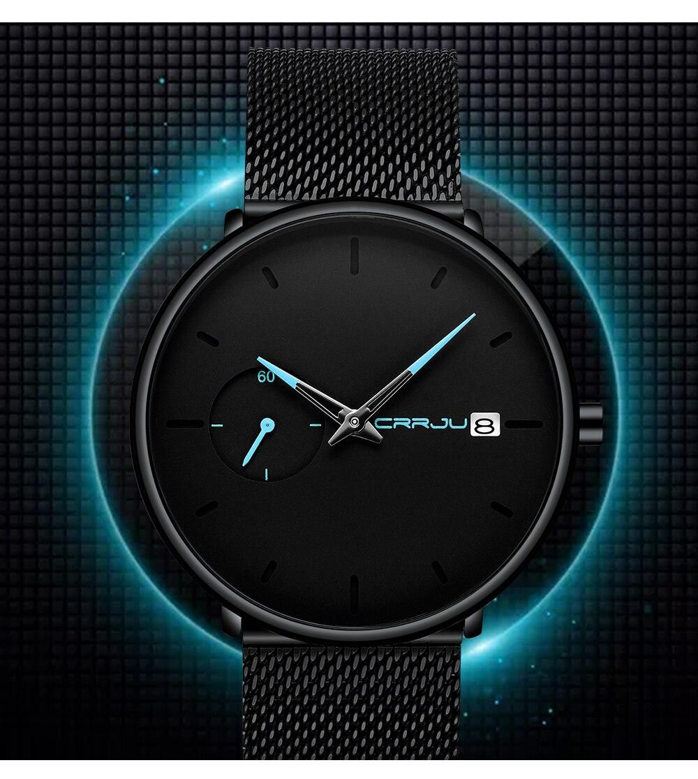 Crrju Sports Date Mens Watches Top Brand Luxury Waterproof Sport Watch Men Ultra Thin Dial Quartz Watch Casual Relogio Masculino 11