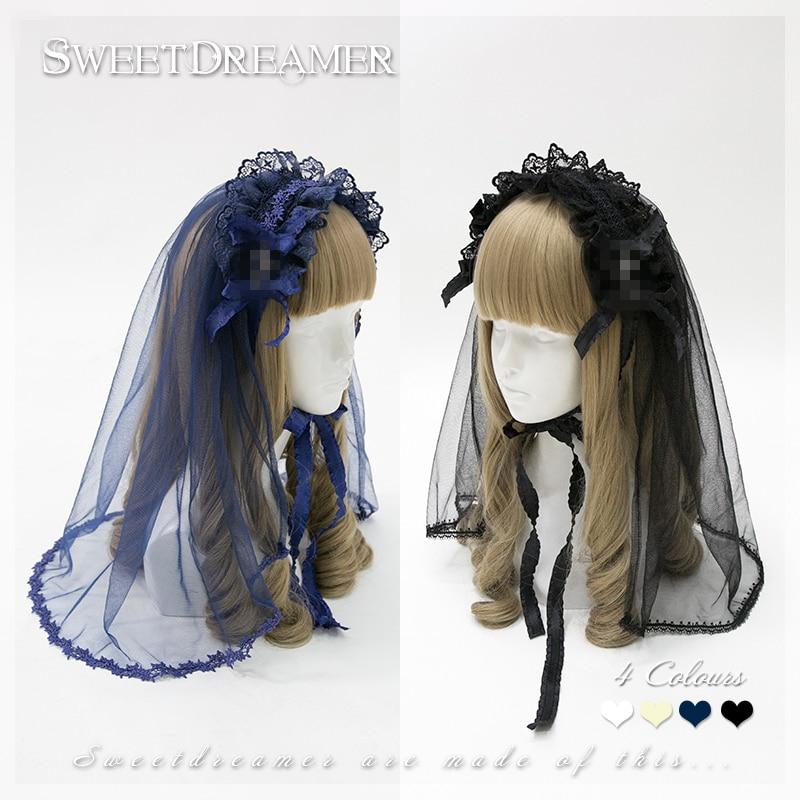 Gothic Lolita lace headband cross headwear bow hairpin Vintage flowers veil cosplay accessory