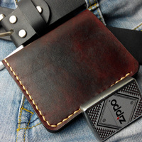 Handwork Vegetable Tanned Leather Cow Handmade Mens Wallet Vintage Genuine Leather Men Wallet Erkek Cuzdan Portafoglio Uomo