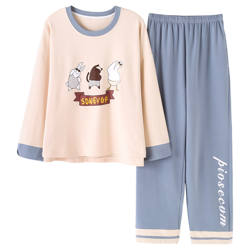 2019 Spring Full Cotton Pyjamas Women   Pajamas     Sets   Cute Cartoon 2 Pcs Suit Home Wear Female Long Sleeve Sleepwear M-2XL