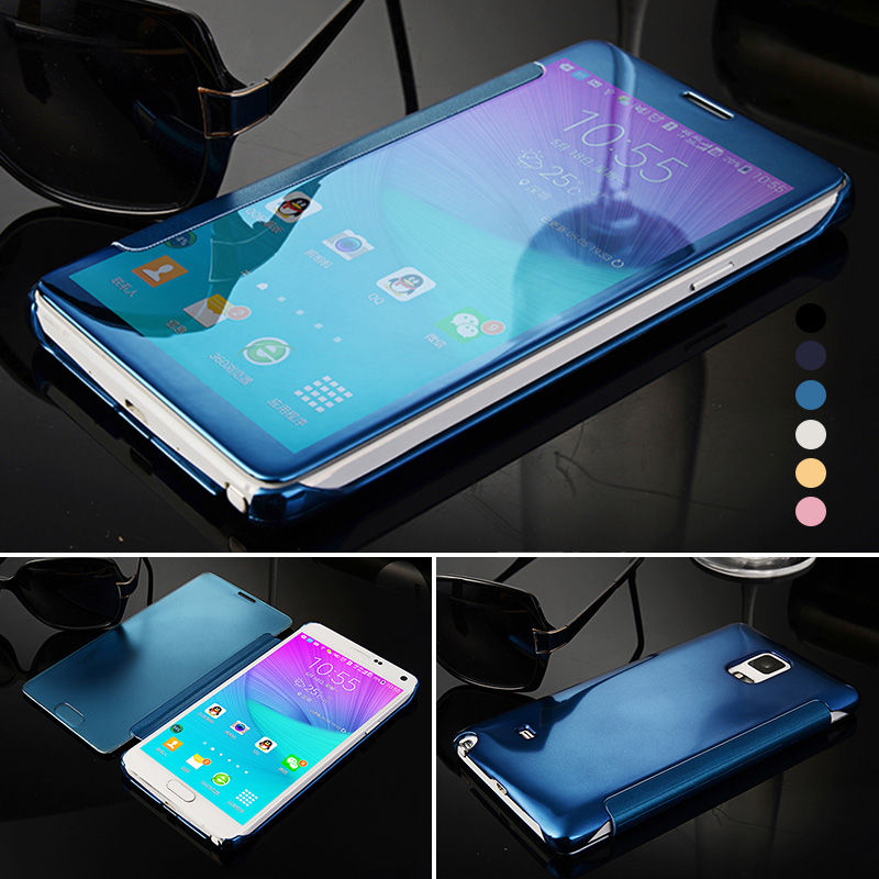 Phone Cases Smart For Samsung Galaxy Note 4 View Window Mirror Flip Leather Case Protective Cover For Samsung Note 4 Note5 Coque