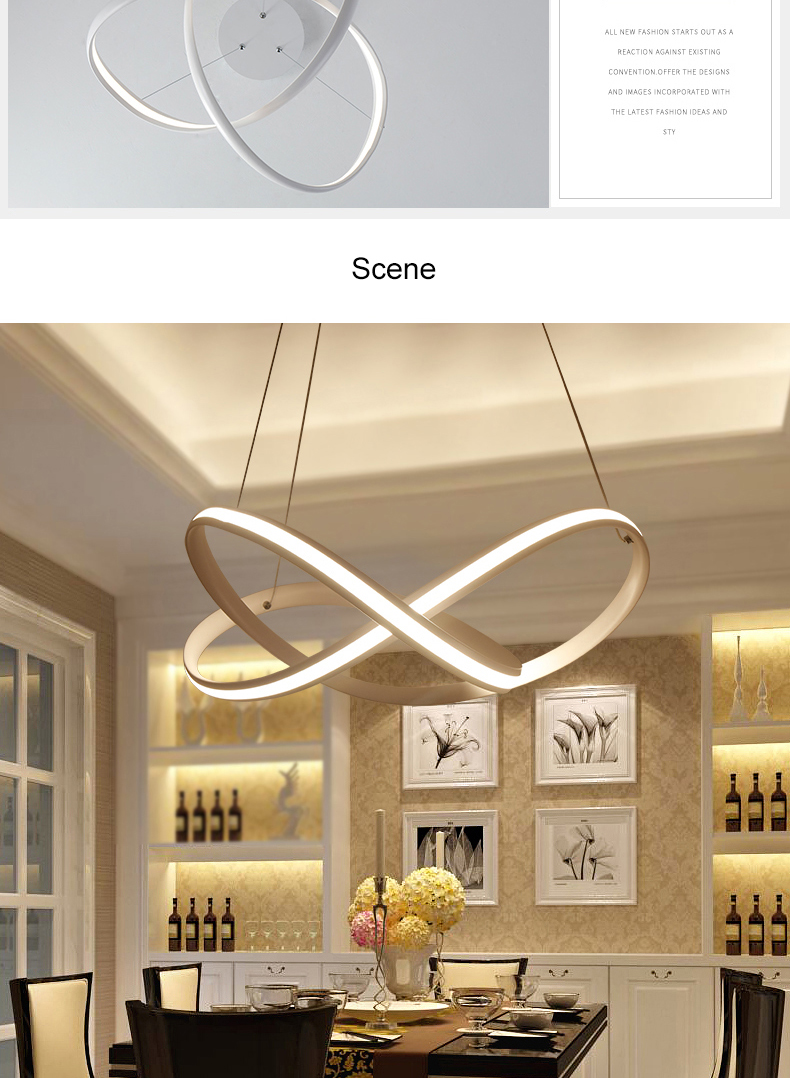 NEO Gleam Restaurant Bar Dining Room Kitchen Room Chandeliers Modern Led White Color Auminum Body Hanging Pendant Chandeliers & NEO Gleam Restaurant Bar Dining Room Kitchen Room Chandeliers Modern ...