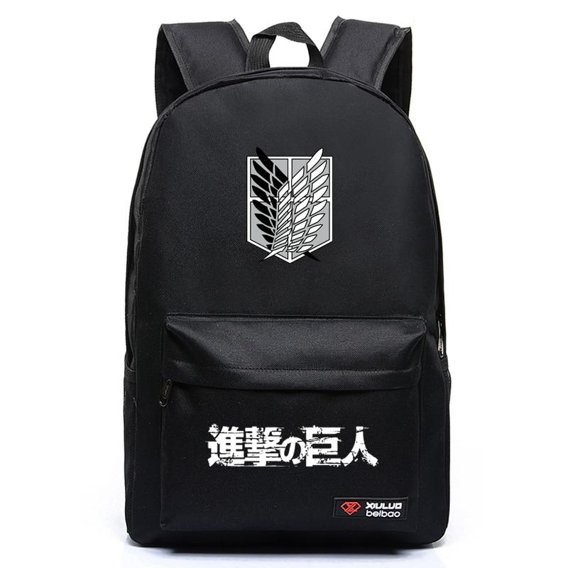 J77 Anime Cartoon Attack on Titan Cosplay Backpack Shingeki No Kyojin School Bag Rucksack Men s