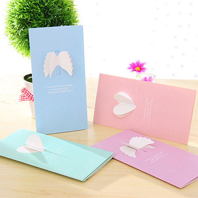 40 Piece Lot 3D Heart Angel Wings Paper Greeting Card Birthday Invitations Back To School Stationary Gift With Envelope PC01