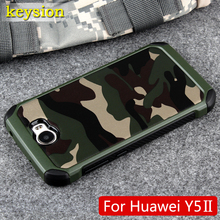 Case for Huawei Y5 ii Honor 5 2in1 Armor Hybrid Plastic+TPU Army Camo Camouflage Rear with Special Shockproof Angle Phone Cover