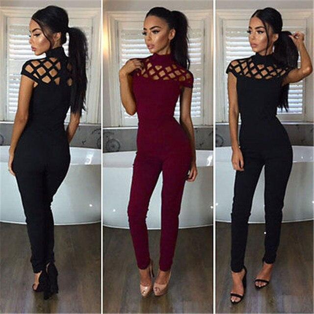 816a988f14cc Fashion Women Jumpsuit Ladies Bodycon Slim Skinny Solid Cotton Blend Short  Sleeve Romper Jumpsuit Club Mesh Long Pants