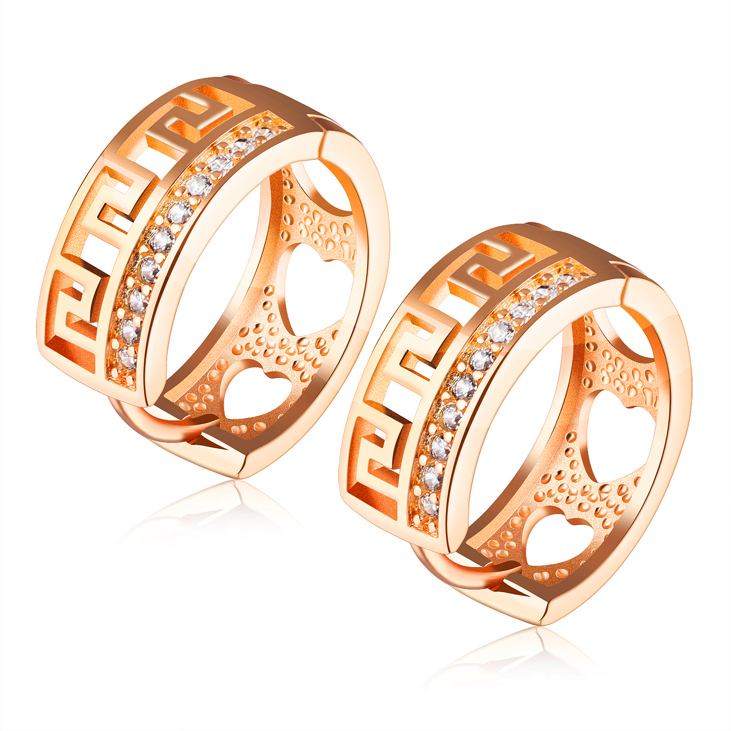 New Arrival Fashion Women Jewelry Delicate Accessories Rose Color Inlaid Cz Little  Hoop Earrings Gift For
