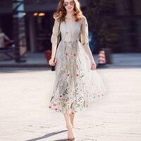 Newest Fashion Runway Maxi Dress Women S Elegant Half Sleeve Tulle Gauze Flower Floral Embroidery Vintage