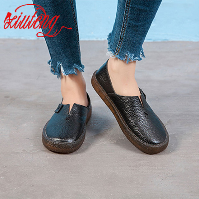 Xiuteng 2018 Bahar kadın Hakiki Deri Yuvarlak El Yapımı rahat ayakkabılar Yaz Retro Düz deri ayakkabı Kadınlar Için