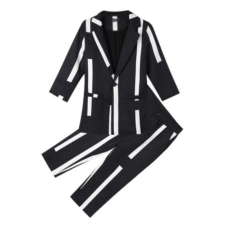 Modo Auto Delle Pantaloni Ritagliata Vestito 2 Temperamento Di Set 1 Abiti Stile coltivazione Pezzo Nuovo Strisce Donne Femminile A ZwxzEPAqS