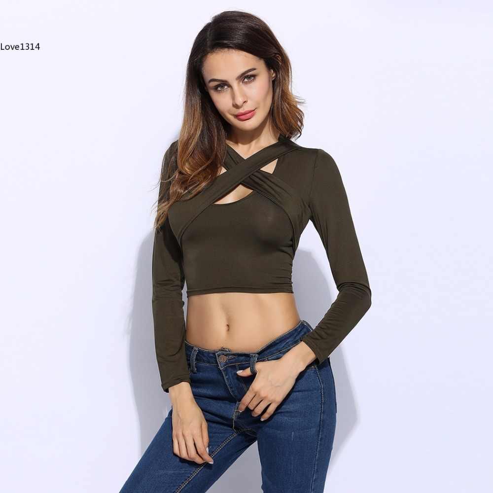 6acd2031974 ... Cross V-neck Sexy Crop Top Women Slim T-shirt Black White Red Long ...